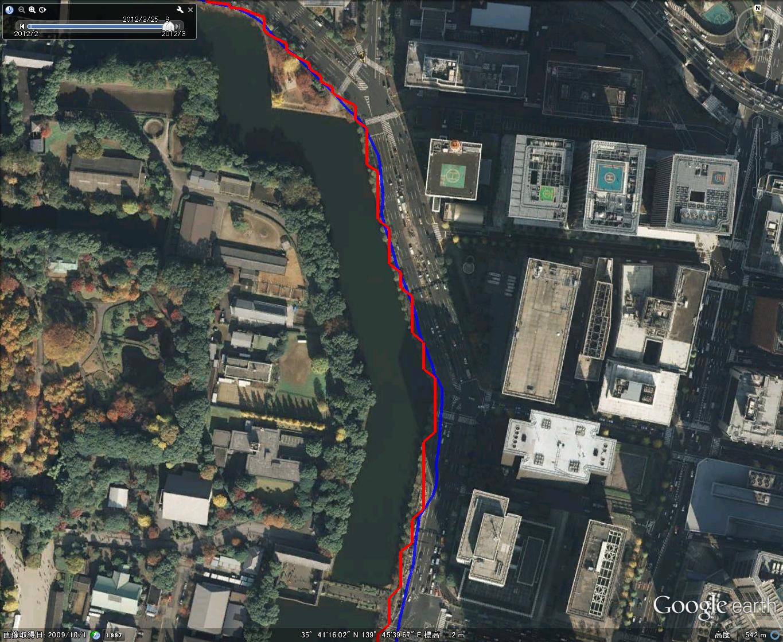 皇居周回コース(大手町付近、Google Earth上で表示)