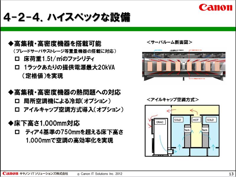 床荷重、空調や冷却、床下高さ1000mmなど、高い基準を満たす仕様を採用