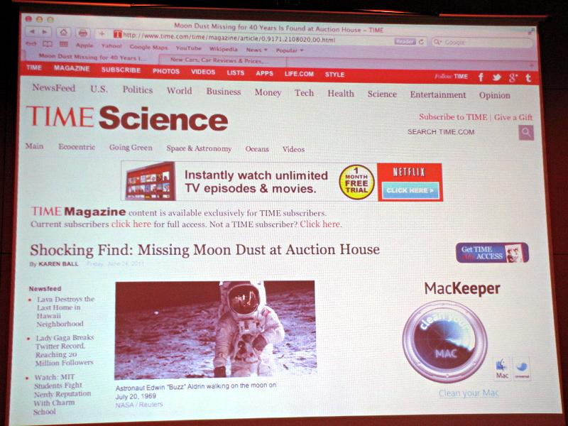 写真付きの雑誌記事をブラウザー上で表示した例