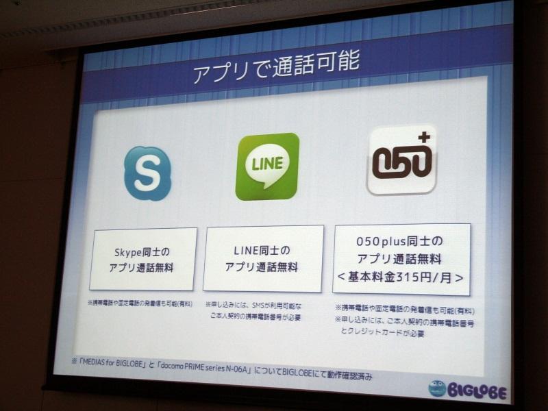 SkypeやLINE、050plusなどの通話アプリも利用できる