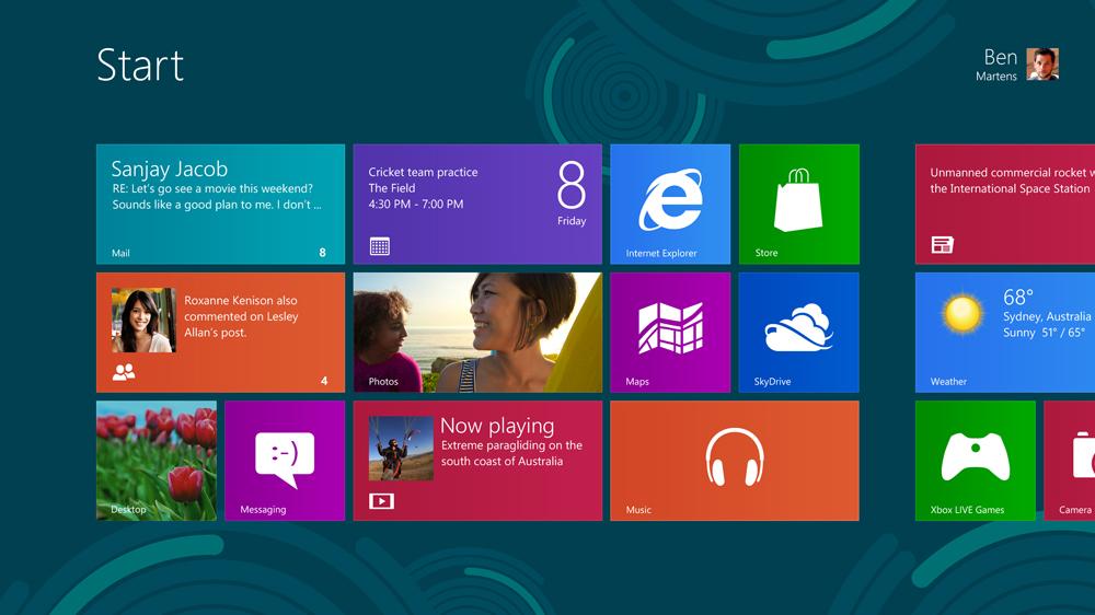 Windows 8のスタートスクリーン(英語版)