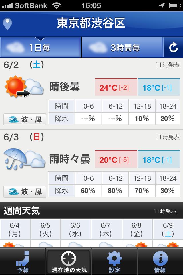 「現在地の天気」を表示