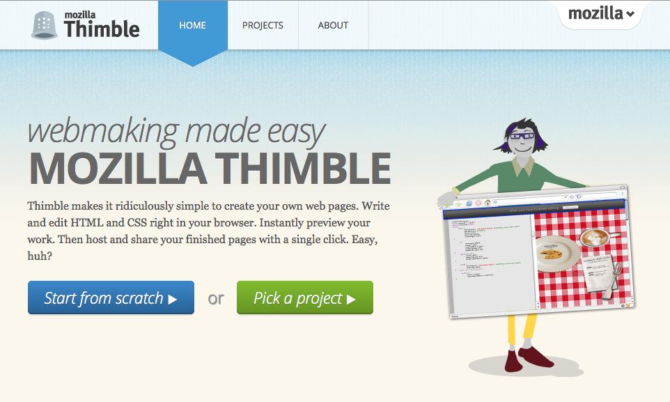 Thimbleのウェブサイト