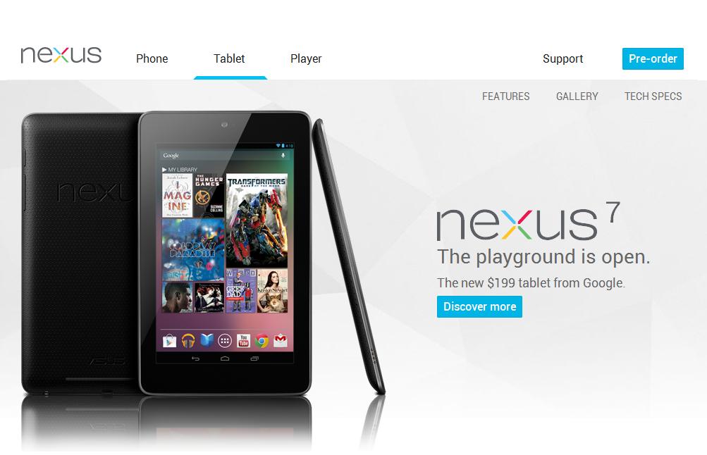 「Nexus 7」の紹介ページ