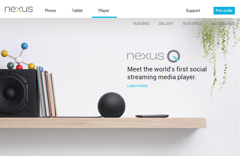 「Nexus Q」の紹介ページ
