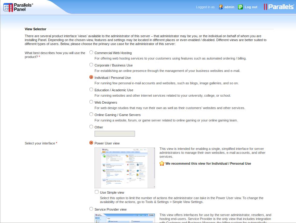 管理画面の表示スタイルなどの初期設定。ここでは主に個人で管理する用途向けの「Power User View」を選んだ