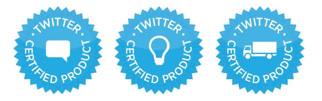 「Twitter公認製品プログラム」の公認マーク。左から、「エンゲージメント」「分析」「データの再販」のカテゴリー