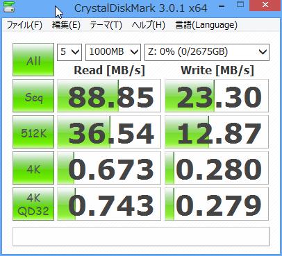 CrystalDiskMark3.0.1cの結果。クライアントにはCore i5 3570K/RAM8GB/Crucial RealSSD C300/Windows 8 enterprise 64bit 90日体験版を使用