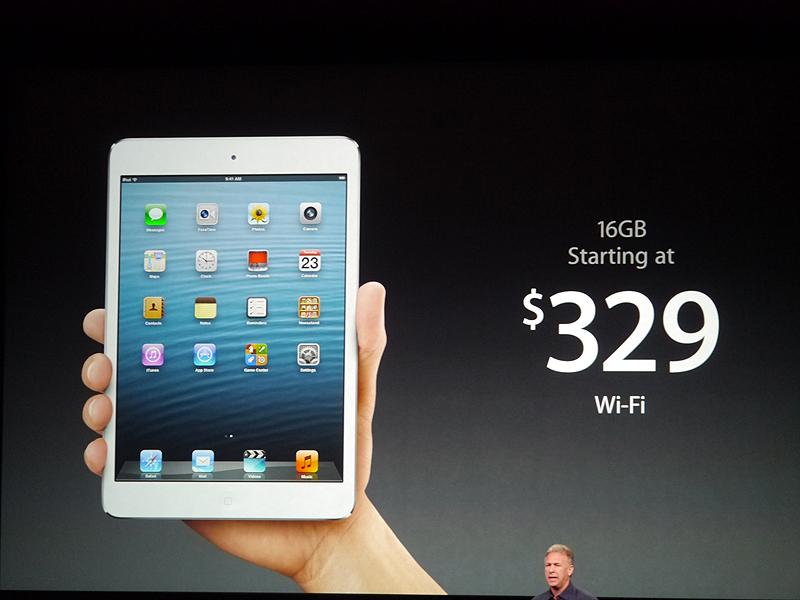 16GBのWi-Fiモデルの価格は329ドル。日本では2万8800円となっている