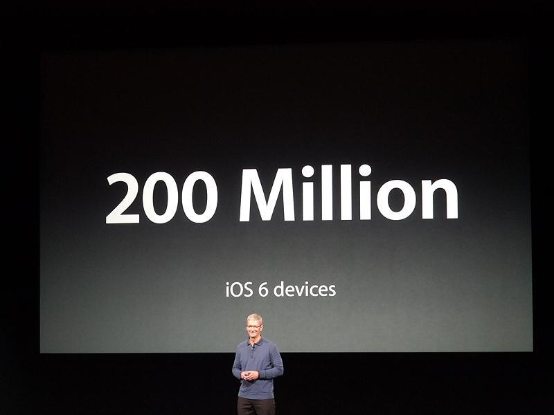 さらにiOS 6を搭載したデバイスの出荷台数は2億台に到達したと発表
