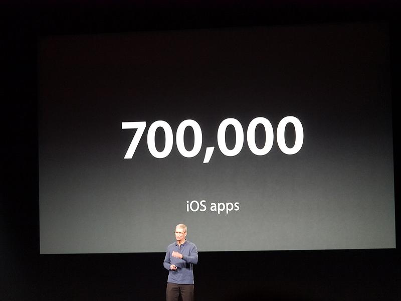 iOSのアプリケーション数は70万種類に