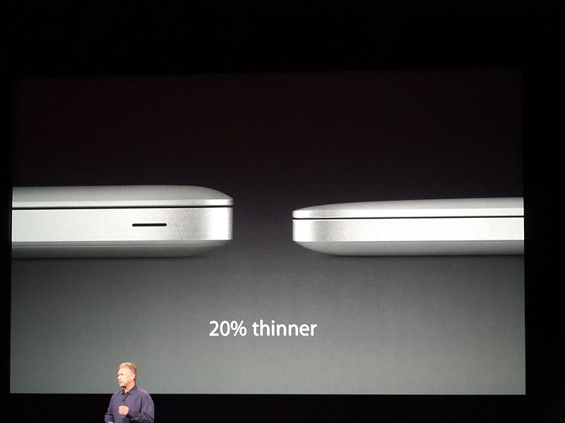 従来の13型MacBook Proよりも20%薄くなり、史上最軽量のMacBook Proになるという
