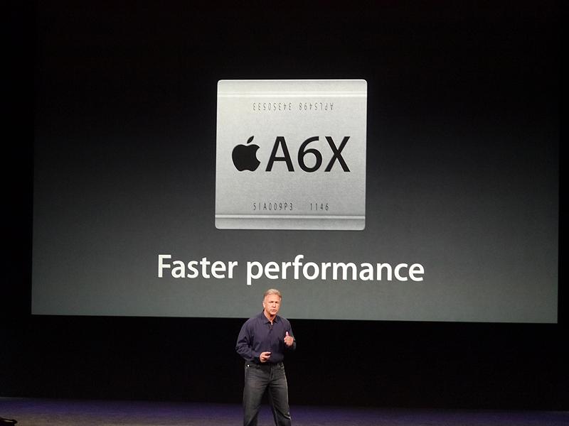 ここで再びフィル・シラー上席副社長が登壇し、第4世代のiPadにはA6Xを採用していることを明らかにした
