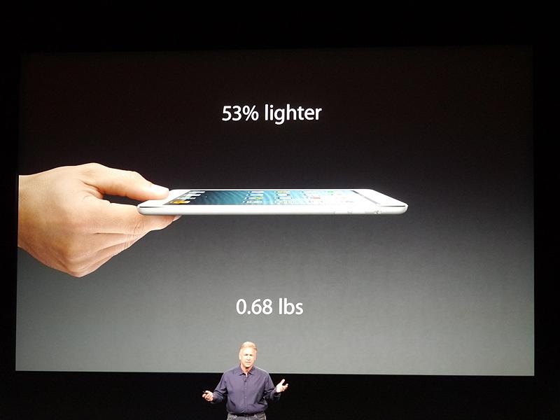 iPadに比べて53%も軽量化している。重量は308g