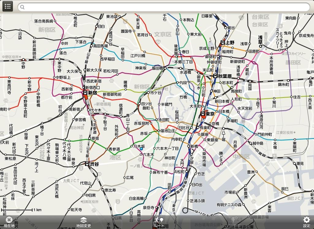 iPadでの「鉄道路線」表示