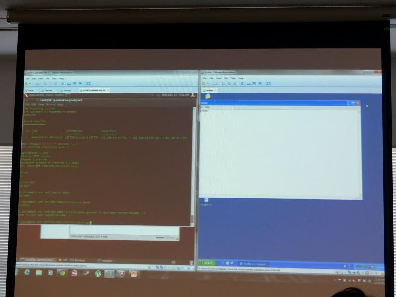 向かって左が攻撃ツールの画面、右が感染PCの画面