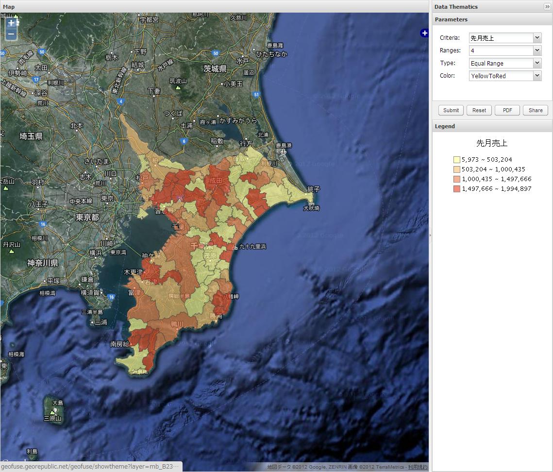 地図上にデータが表示される