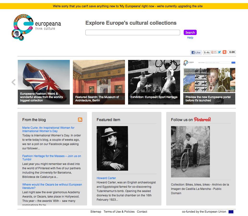 ヨーロッパの巨大電子図書館「europeana」のサイト
