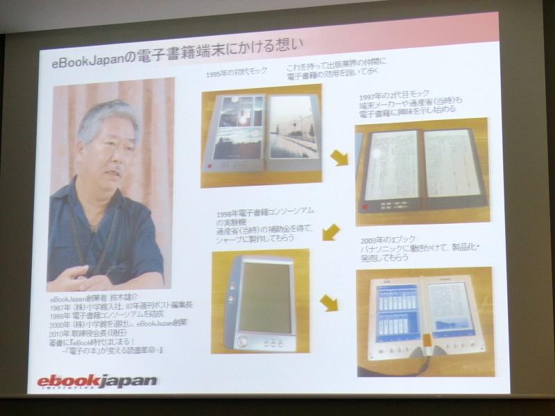 パナソニック(当時は松下電器産業)に働きかけて2003年に製品化・発売してもらったという「ΣBook」(右下)。このころに比べると技術面は格段に進化し、タブレット端末は電子書籍端末として理想のかたちに近づいた。しかし、「ビジネスモデルの面は、まだまだこれから」と鈴木氏は言う