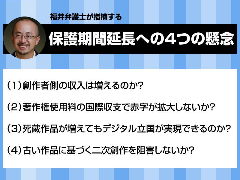 福井弁護士が指摘する「保護期間延長の4つの懸念」