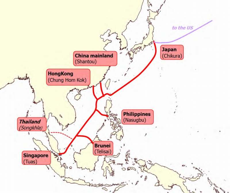 「SOUTH-EAST ASIA JAPAN CABLE SYSTEM(SJC)」敷設ルート