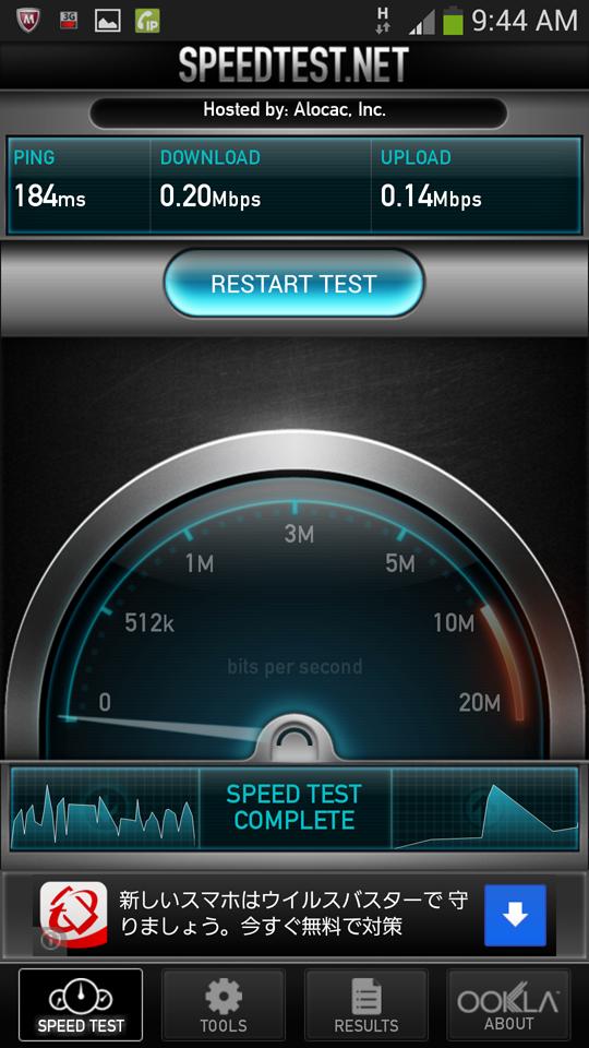 OCNモバイルエントリー d LTE 980では、毎日30MBまでは端末およびエリアの最大速度での通信が可能となっているが(左画面)、30MBを超えると速度が200kbpsとなる(右画面)