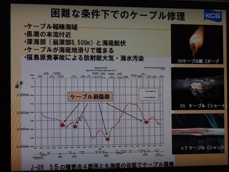 ケーブルが深海の地すべりで埋まったり、原発事故による放射能汚染にも注意が必要だった