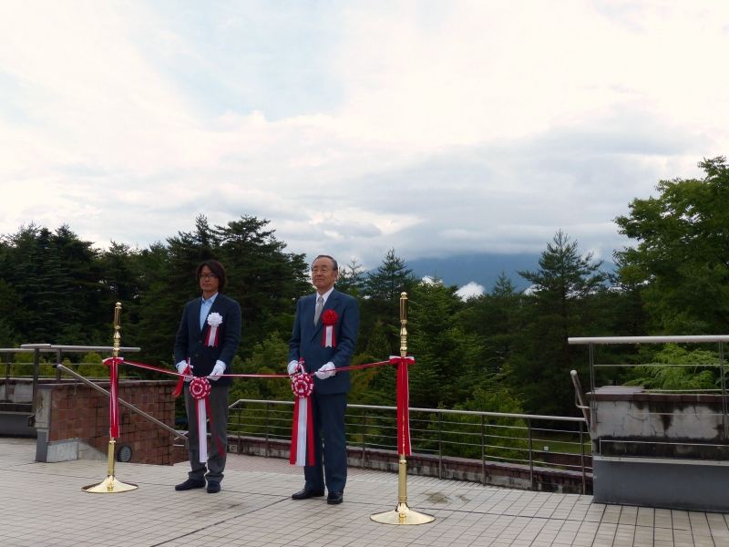 直前まで富士河口湖町を襲っていたゲリラ豪雨は上がったものの、残念ながら富士山頂は雲が覆ったままでのテープカットとなった