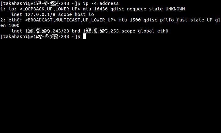 NICを追加する前に、ip addressコマンドでIPv4アドレス情報だけを表示したところ