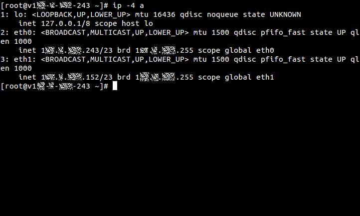 新しいNICを設定して、ip addressコマンドでIPv4アドレス情報だけを表示したところ。追加されたNIC「eth1」の情報も表示されている