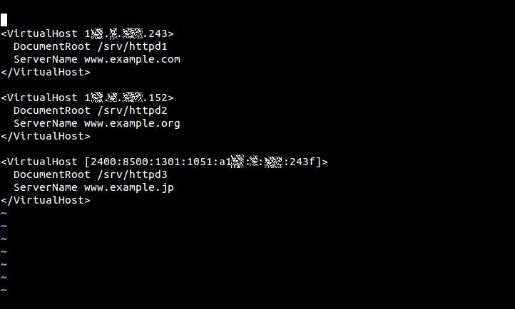 Apache httpd(バージョン2.2)でIPアドレスベースの仮想ホストを設定