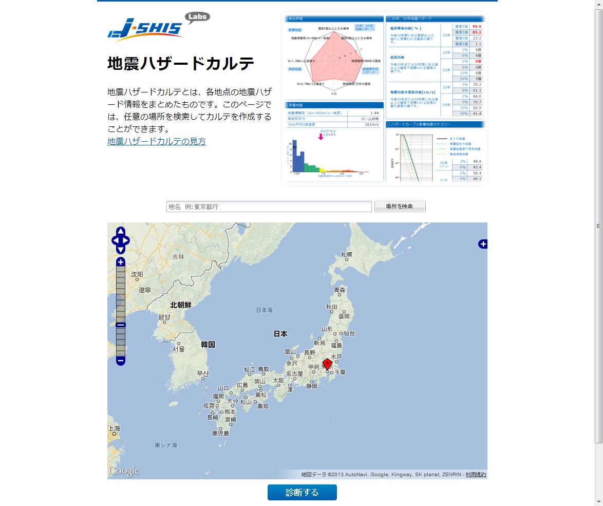 防災科学技術研究所が実験的に公開した「地震ハザードカルテ」