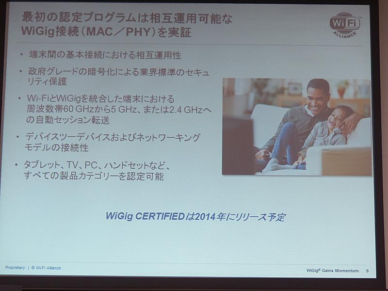 最初の認定プログラムはWiGig接続を実証するものとなり、2014年に提供する予定
