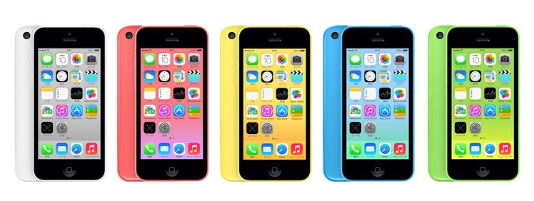 iPhone 5cのカラーバリエーションはホワイト、ピンク、イエロー、ブルー、グリーンの5色