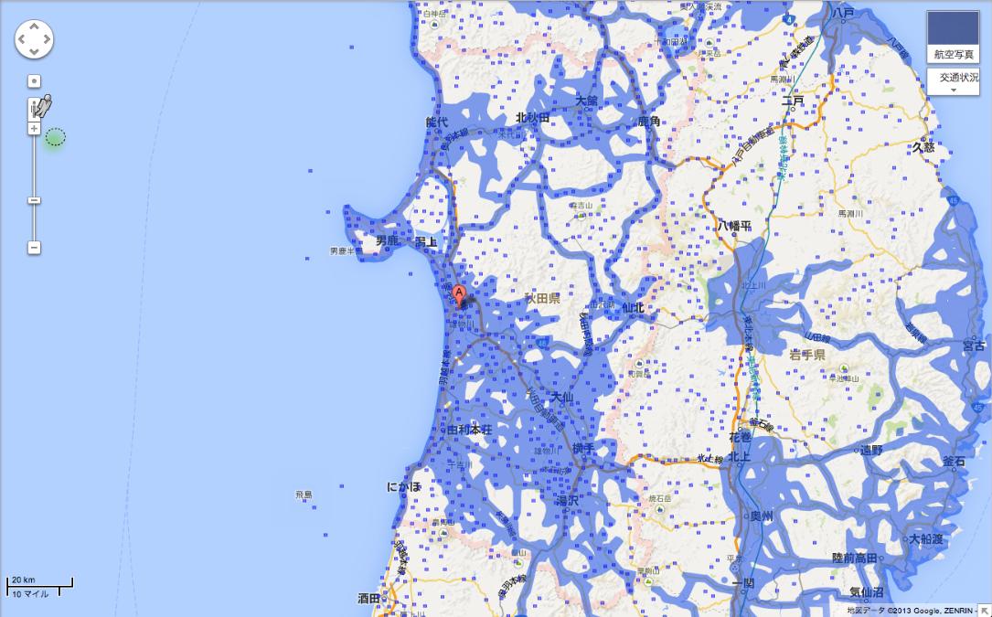 秋田県のエリア拡大後(提供:Google)