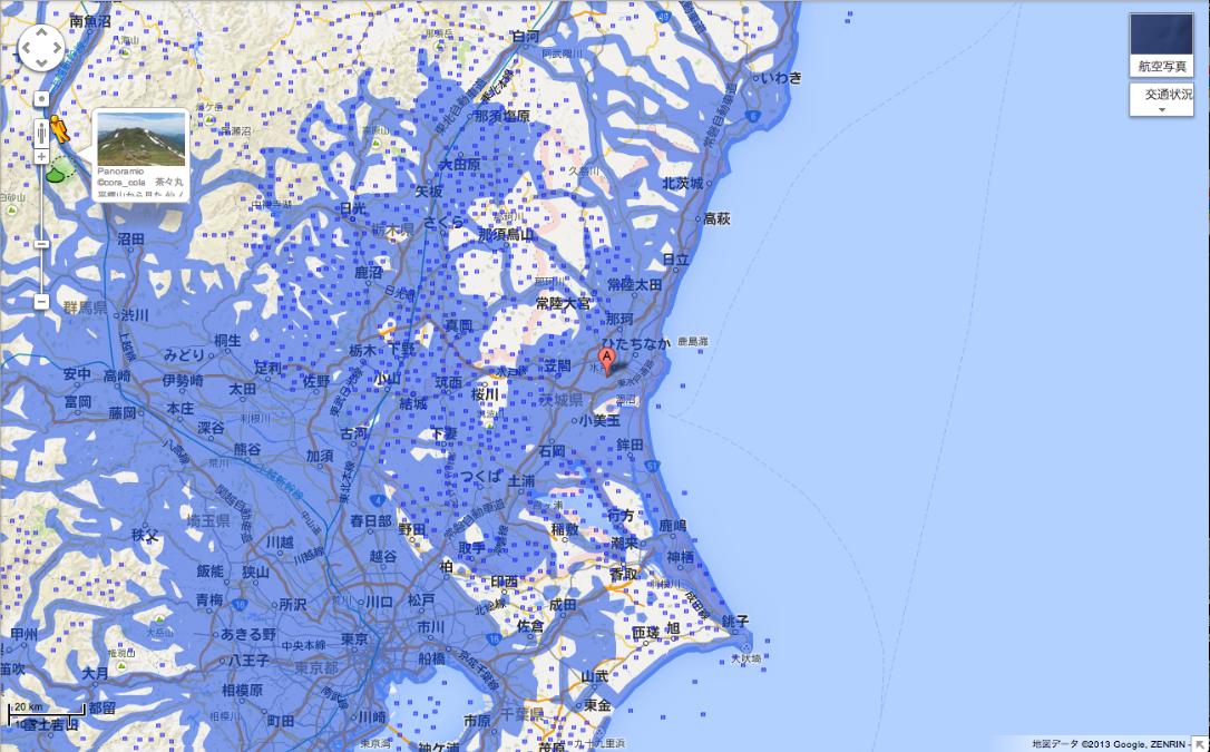 茨城県のエリア拡大後(提供:Google)