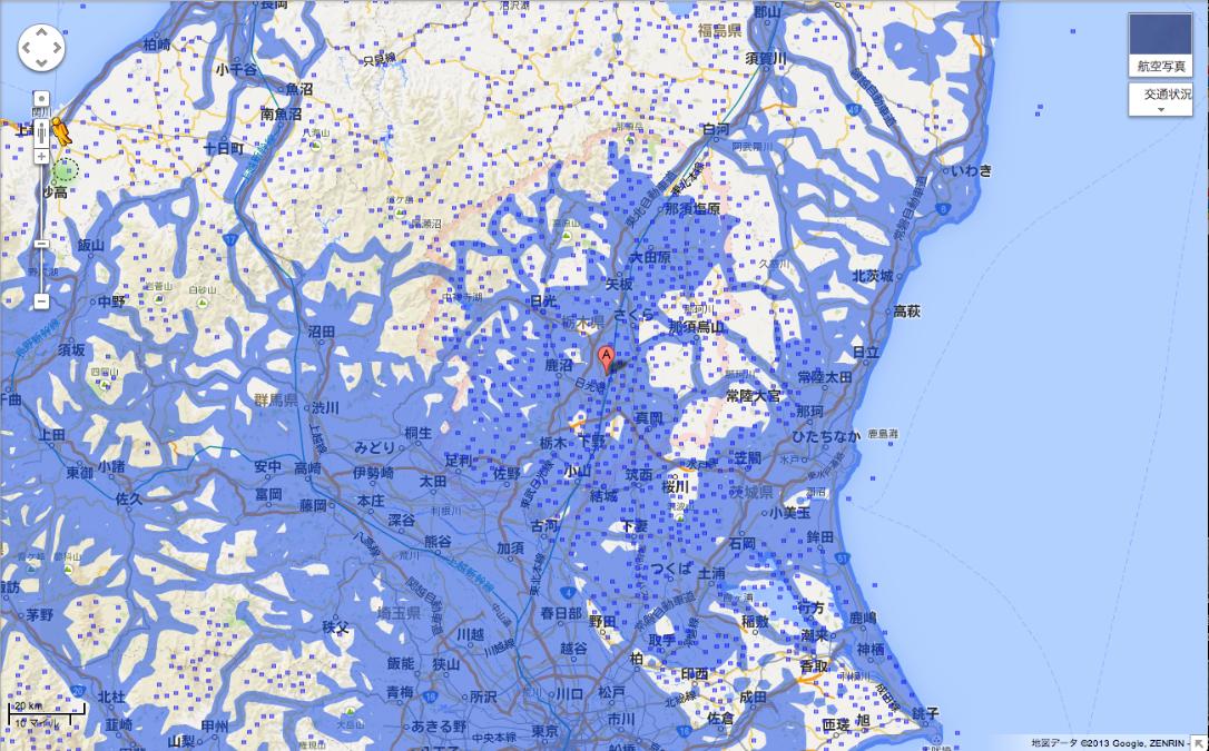 栃木県のエリア拡大後(提供:Google)