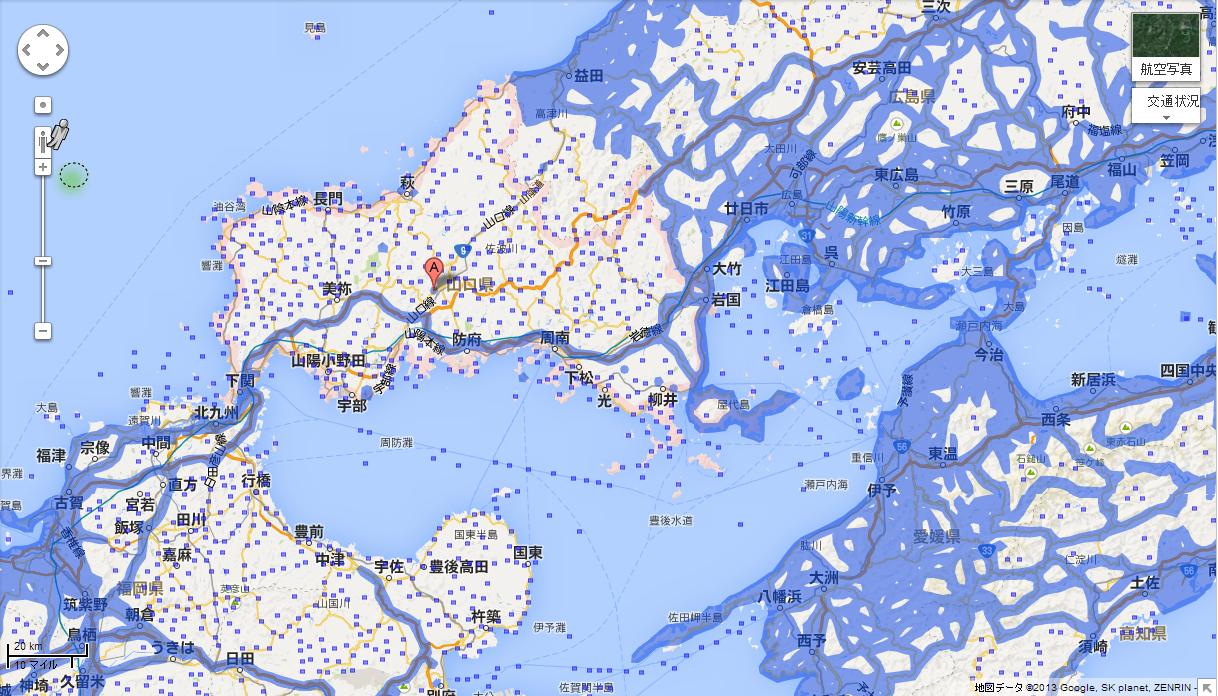 山口県のエリア拡大前(提供:Google)