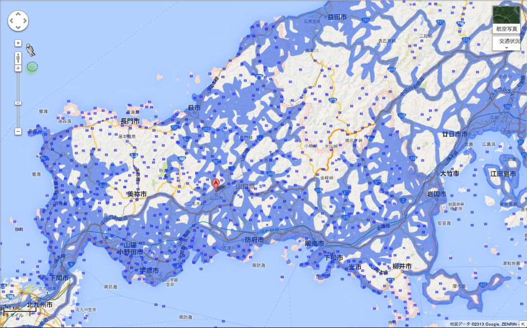 山口県のエリア拡大後(提供:Google)