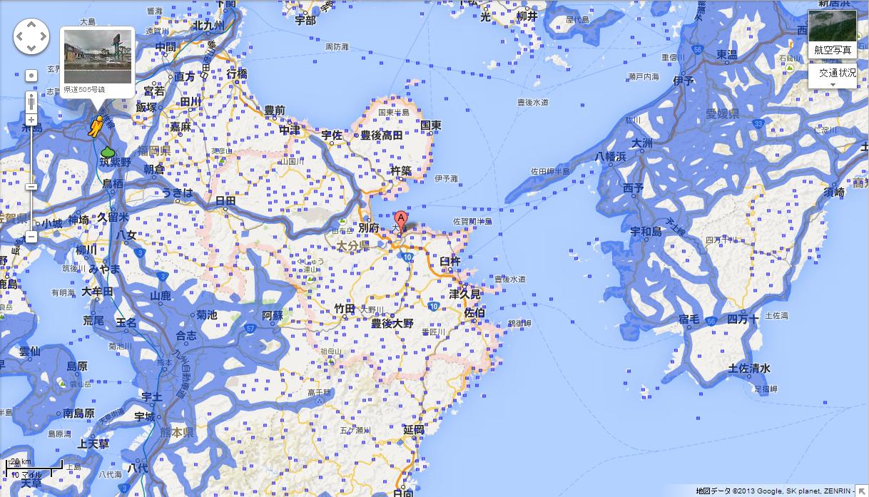 大分県のエリア拡大前(提供:Google)