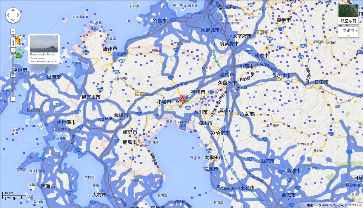 佐賀県のエリア拡大前(提供:Google)