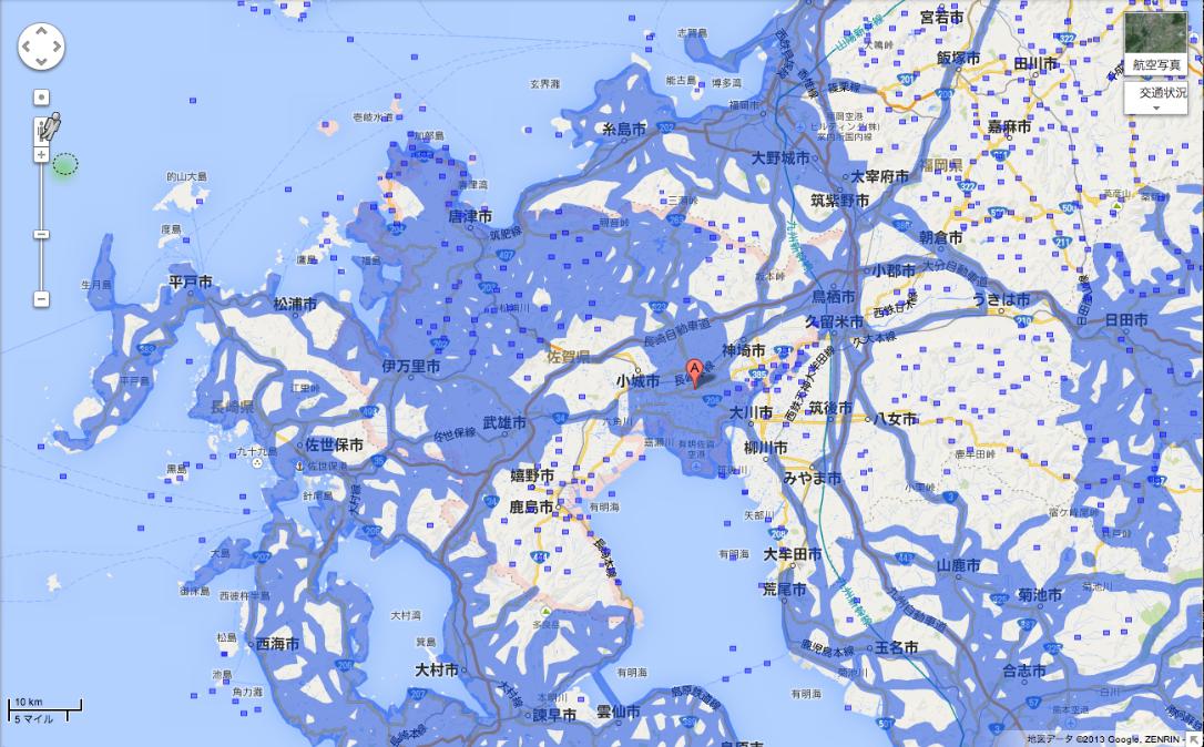 佐賀県のエリア拡大後(提供:Google)