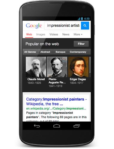 「印象派画家について教えて」と質問すると画家一覧が表示され、それぞれの画家についてさらに詳しく知ることができる