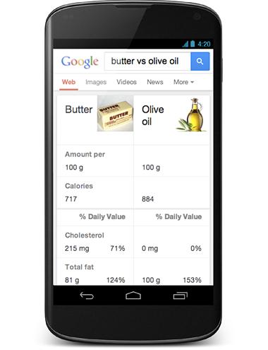 「バターとオリーブオイルを比較して」と話しかけると、それぞれの性質が比較表示される