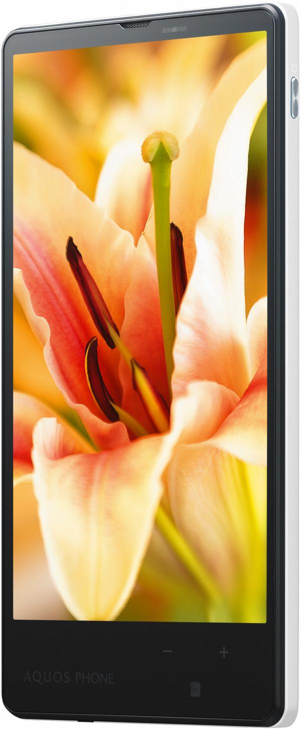「AQUOS PHONE Xx mini 303SH」は、ターコイズ/ブラック/ホワイト/レッド/ブルー/ゴールド/ライトピンク/ビビッドピンクという8色のカラーラインナップ(写真はホワイト)。本体サイズは約63×124×9.8mm(暫定値)、重さは未定。