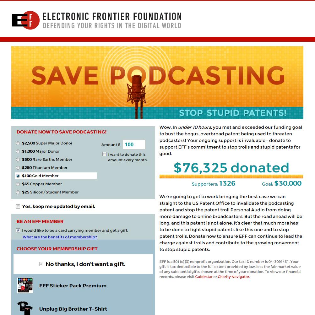 EFFの「Save Podcasting」キャンペーンサイト