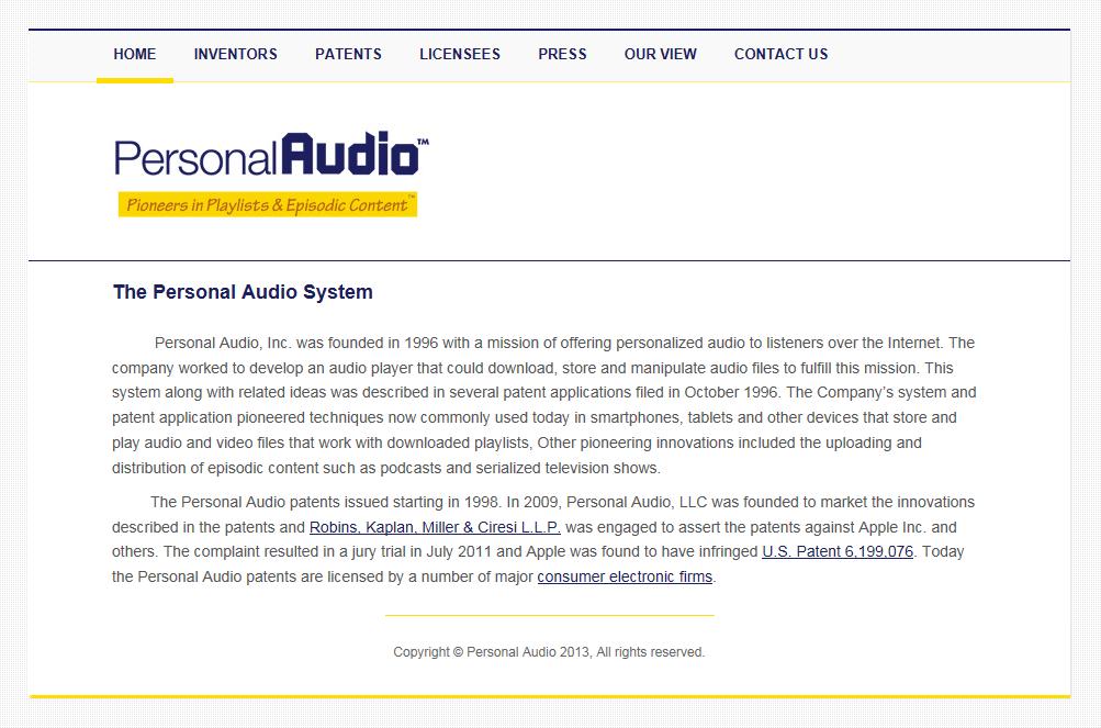 米Personal Audioのウェブサイト