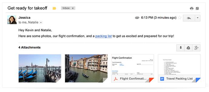 添付ファイルのサムネイル表示