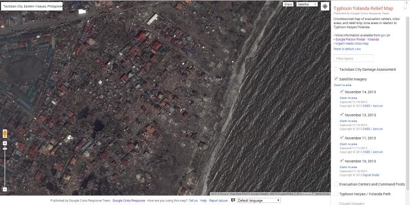 「Google 災害マップ」で公開された最新航空写真(グーグル公式ブログより画像転載)
