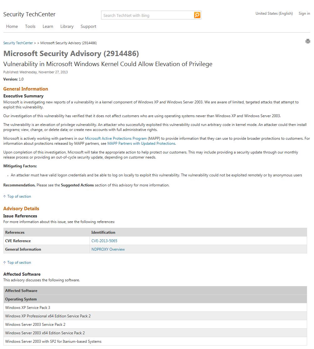 米Microsoftが27日付で出したセキュリティアドバイザリ(2914486)のページ